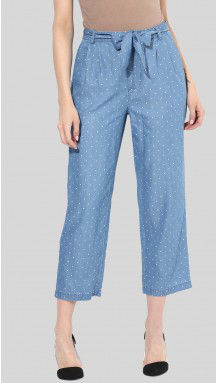 SbuyS  - Belted Cropped Polka Dot Pant