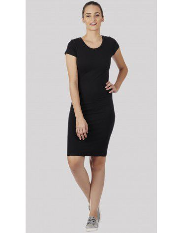 SbuyS - Cap Sleeve Black Bodycon Dress