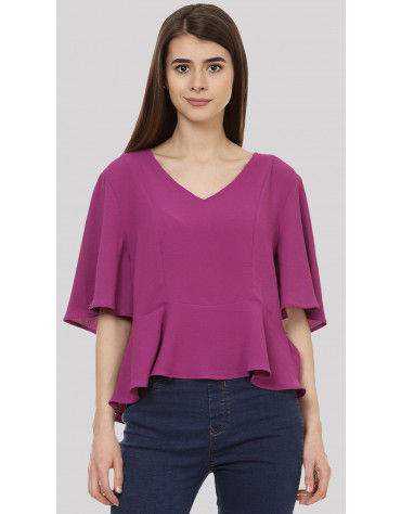 SbuyS - V Neck Peplum Blouse