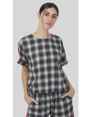 SbuyS - Contrast Tape Plaid Crop Top