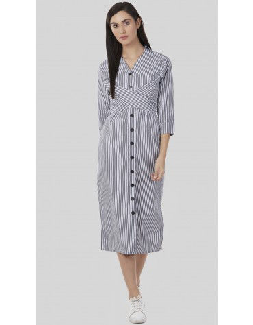 SbuyS - Back Tie Up Button Down Stiper Dress