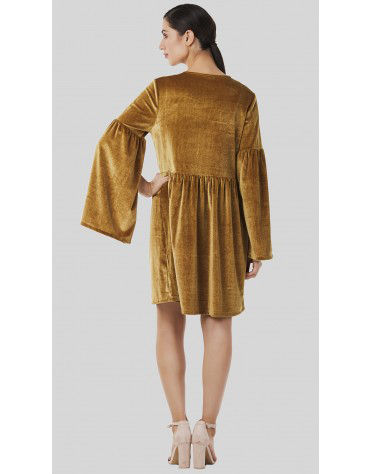 SbuyS - Bell Sleeve Velvet Dress