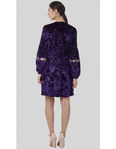 SbuyS - Embroidered Velvet Midi Dress