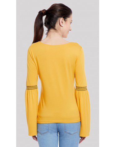 SbuyS  - Lace Up Neck Bell Sleeve Peasant Top