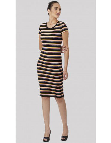 SbuyS - Cap Sleeve Multicolor Stripe Bodycon Dress