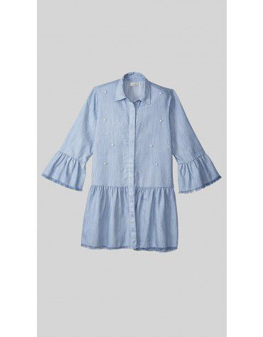 Beyond Clouds - Teen Girls Pearl Embellished Denim Dress