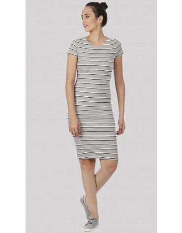 SbuyS - Cap Sleeve Grey Stripe Bodycon Dress