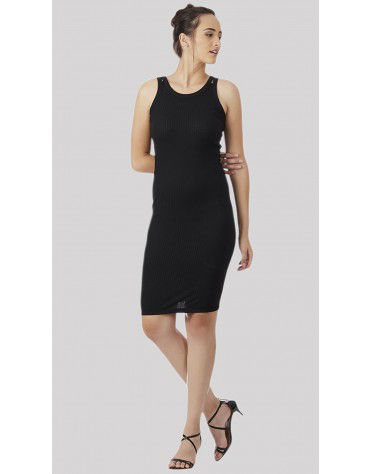 SbuyS - Twin Strap Black Bodycon Dress