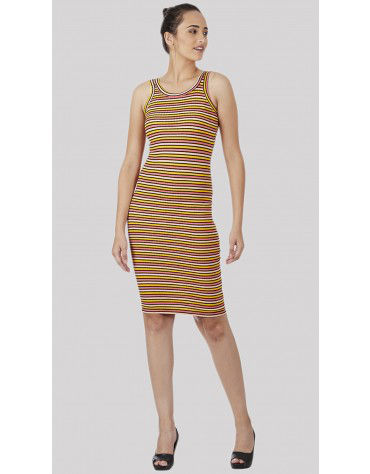 SbuyS - Twin Strap Multicolor Stripe Bodycon Dress