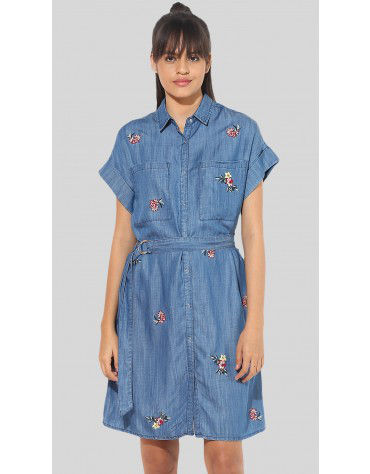 SbuyS  - Embroidered Denim Shirt Dress