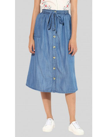SbuyS - Denim Button Down Midi Skirt