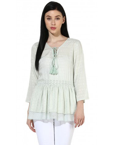 SbuyS  - Lace Up Neck Peplum Blouse