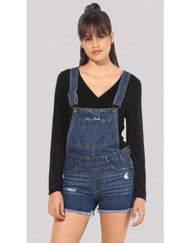 SbuyS  - Blue Denim Shorts Romper
