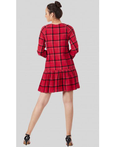 SbuyS  - Plaid Embroidered Midi Dress
