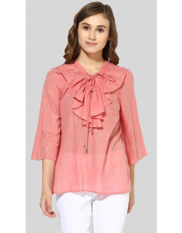 SbuyS  - Criss Cross Tie Ruffle Blouse