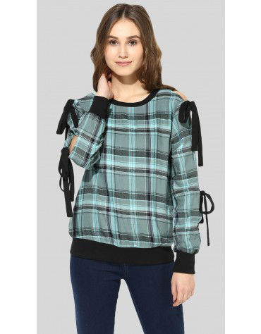 SbuyS  - Tie Up Sleeve Plaid Shirt