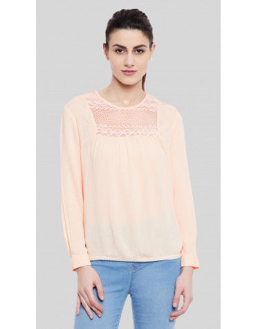 SbuyS  - Embroidered Lace Yoke Blouse
