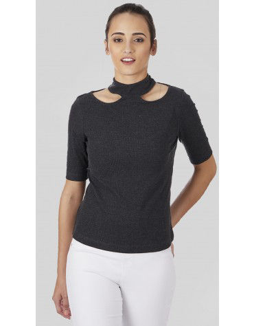 SbuyS  - Cut Out Neck T-Shirt