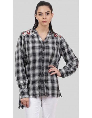 SbuyS  - Embroidered Plaid Shirt