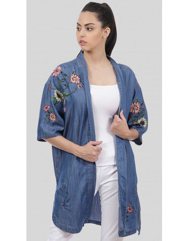 SbuyS  - Embroidered Denim Shrug