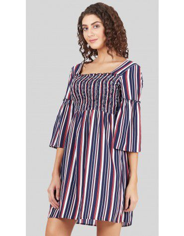 SbuyS - Stripe Smocked Midi Dress