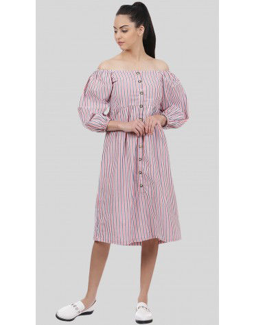 SbuyS - Off Shoulder Striper Midi Dress