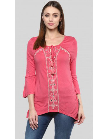 SbuyS - Embroidered Bell Sleeve Top