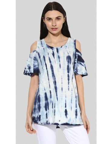 SbuyS  - Tie Dye Cold Shoulder Top