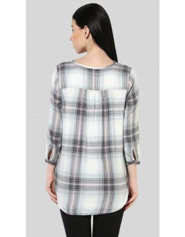 SbuyS - Plaid Embroidered Blouse