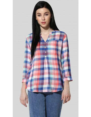 Sbuys - Pleated Plaid Shirt