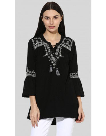 SbuyS - V-Neck Embroidered Peasant Top