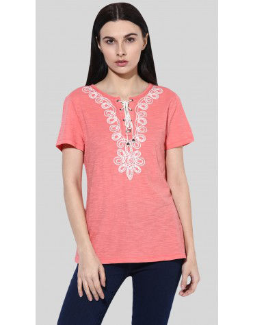 SbuyS  - Lace Up Embroidered T-Shirt