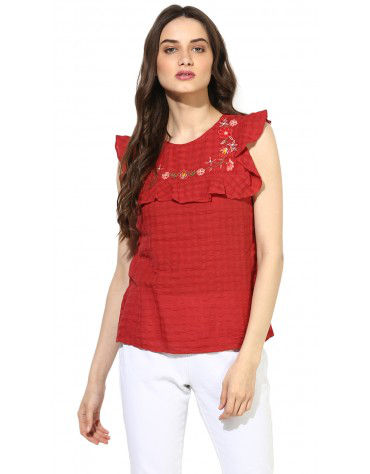 SbuyS - Sleeveless Embroidered Ruffle Blouse