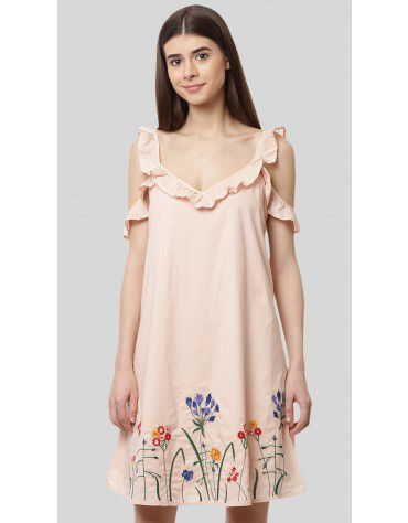 SbuyS - Cold Shoulder Floral Embroidery Swing Dress