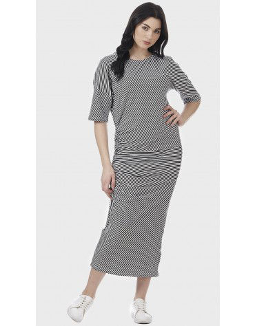 SbuyS - Ruched Striper Maxi Dress
