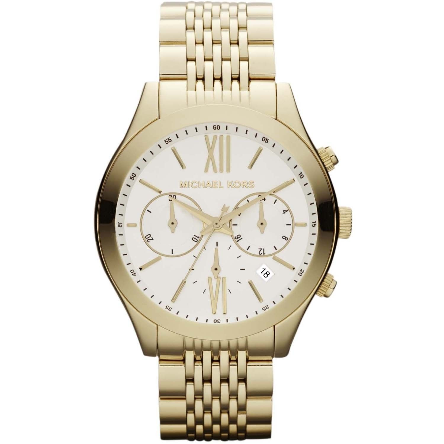 Michael Kors Brookton Silver Womens' Gold Chronograph Watch