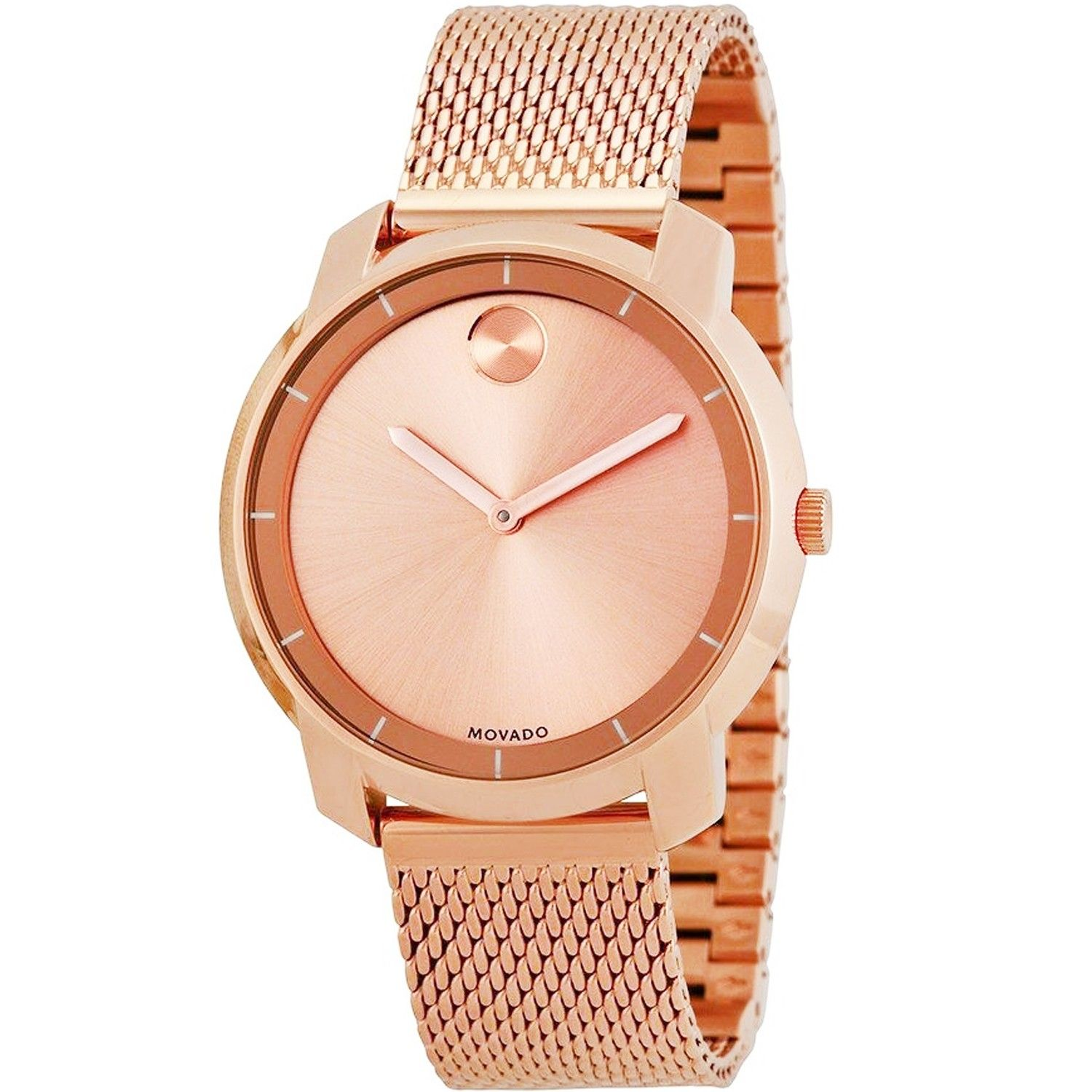 Movado Women's Bold Round Rose Gold Ion-Plated Bracelet Watch