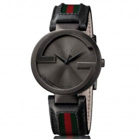 GUCCI Interlocking G Black Dial Black Leather Men's Watch