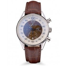 Men's Chronograph Carrera Calibre 1887 Brown Leather Strap Watch