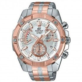 CASIO EDIFICE STANDARD CHRONOGRAPH PINK GOLD ION PLATED TWO-TONE STAINLESS STEEL BAND WATCH