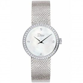 Mother of Pearl White Dial Set with Diamonds Christian Dior La D De Dior Satine