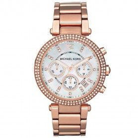 Michael Kors Women's Parker Chronograph Stainless Steel Bracelet Strap Watch, Rose Gold/White
