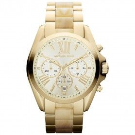 MICHAEL KORS LADIES BRADSHAW GOLD TONE HORN BRACELET WATCH