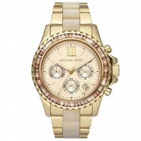 MICHAEL KORS Everest Light Champagne Dial Gold-tone and Horn Acetate Ladies Watch