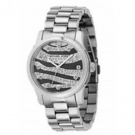 Michael Kors Women's Animal Print Dial Watch Silver