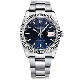 ROLEX DATEJUST 36 BLUE DIAL WITH INDEX HOUR MARKERS MEN'S WATCH ON OYSTER BRACELET