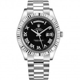ROLEX WATCHES DAY-DATE II PRESIDENT WHITE GOLD FLUTED BEZEL BLACK DIAL
