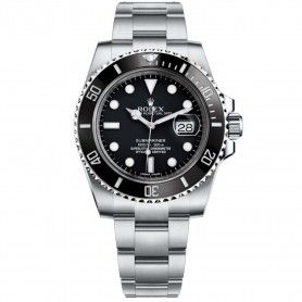 ROLEX OYSTER PERPETUAL SUBMARINER DATE SILVER WITH BLACK DIAL
