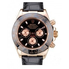 Cosmograph Daytona Chocolate Dial Automatic Black Leather Men's Watch
