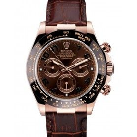 Daytona Rose Gold Case Brown Dial Brown Leather Strap